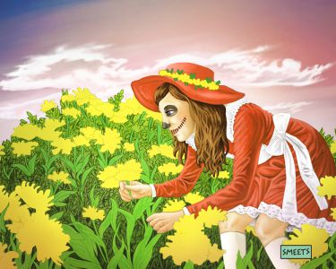 Girl-yellow-flowers-red-print-sml